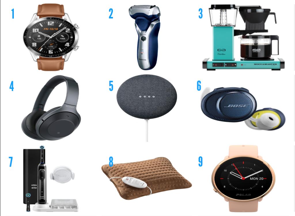 1. Huawei Smartklokke 2. Barbermaskin frå Panasonic 3. Moccamaster 4. Sony trådlause hodetelefonar 5. Smarthøytalar frå Google 6. Bose sport trådlause ørepluggar 7. Tannbørste frå Oral-B 8. Varmepute 9. Polar Ignite klokke. Alle produkt frå Elkjøp