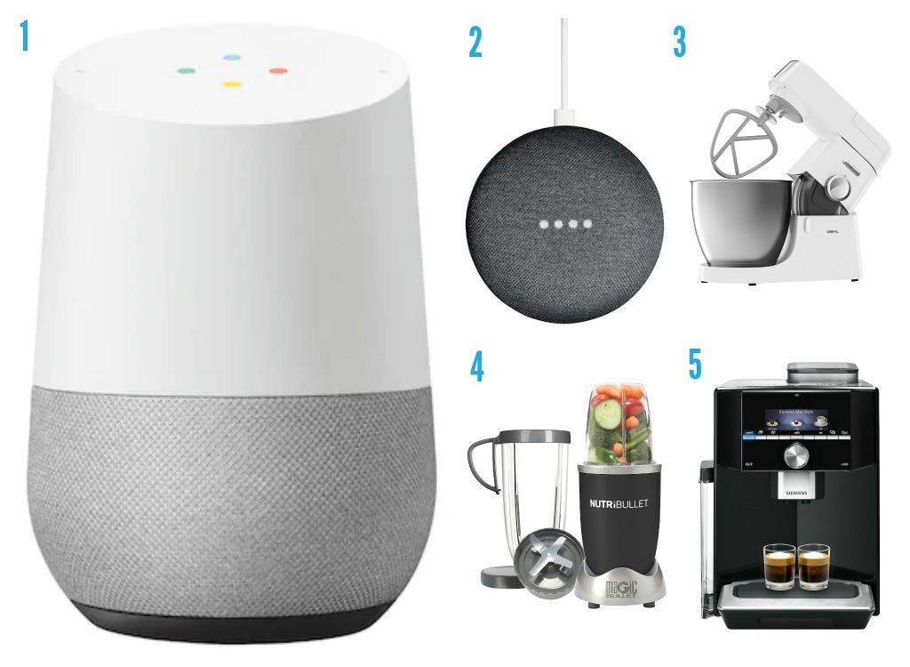 1. Google Home frå Elkjøp 2. Google Home Mini frå Elkjøp 3. Kenwood-kjøkkenmaskin frå Elkjøp 4. Blender frå Elkjøp 5. Kaffemaskin frå Elkjøp