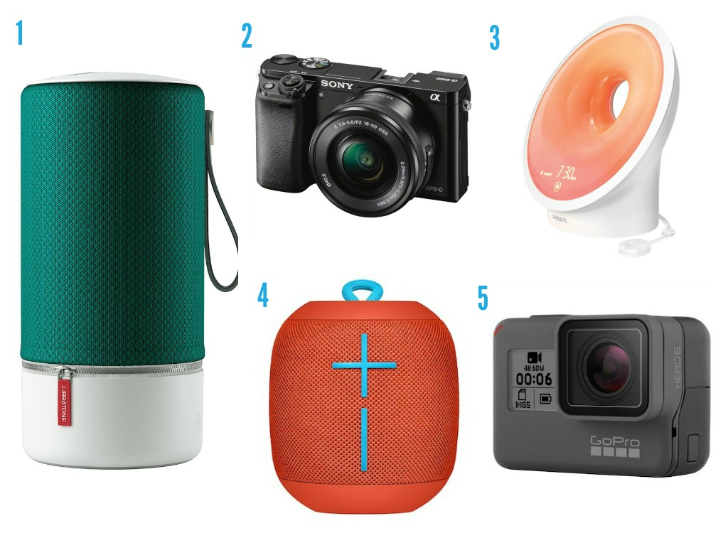 1. Trådlaus høgtalar frå Elkjøp 2. Sony-kamera frå Elkjøp 3. Philips wakeup-lys frå Elkjøp 4. Høgtalar frå Elkjøp 5. GoPro-kamera frå Elkjøp