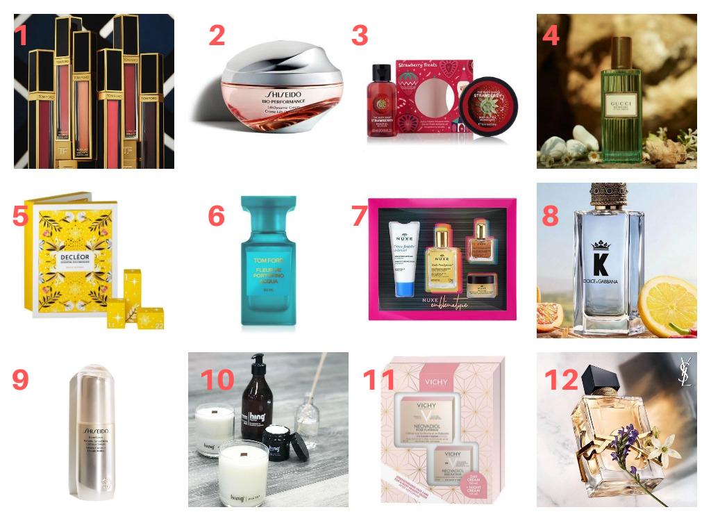 1. Sminke frå Skin Tonic 2. Shiseido-krem frå Skin Tonic 3. BodyShop-gåvesett frå Apotek1 4. Gucci-duft frå Skin Tonic 5. Decleor-gåvesett 6. Tom Ford-duft frå Skin Tonic 7. Nuxe-gåvesett frå Apotek1 8. Dolce&Gabbana-duft frå Apotek1 9. Shiseido-hudpleie frå Skin Tonic 10. Duftlys frå Creativo 11. Vichy-gåvesett frå Apotek1 12. Duft frå Skin Tonic