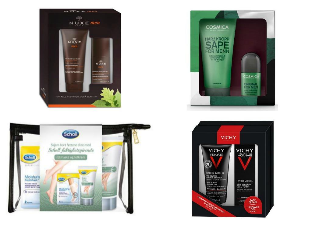 Gåvesett til herre med forskjellige produkt innan hudpleie frå Apotek 1.