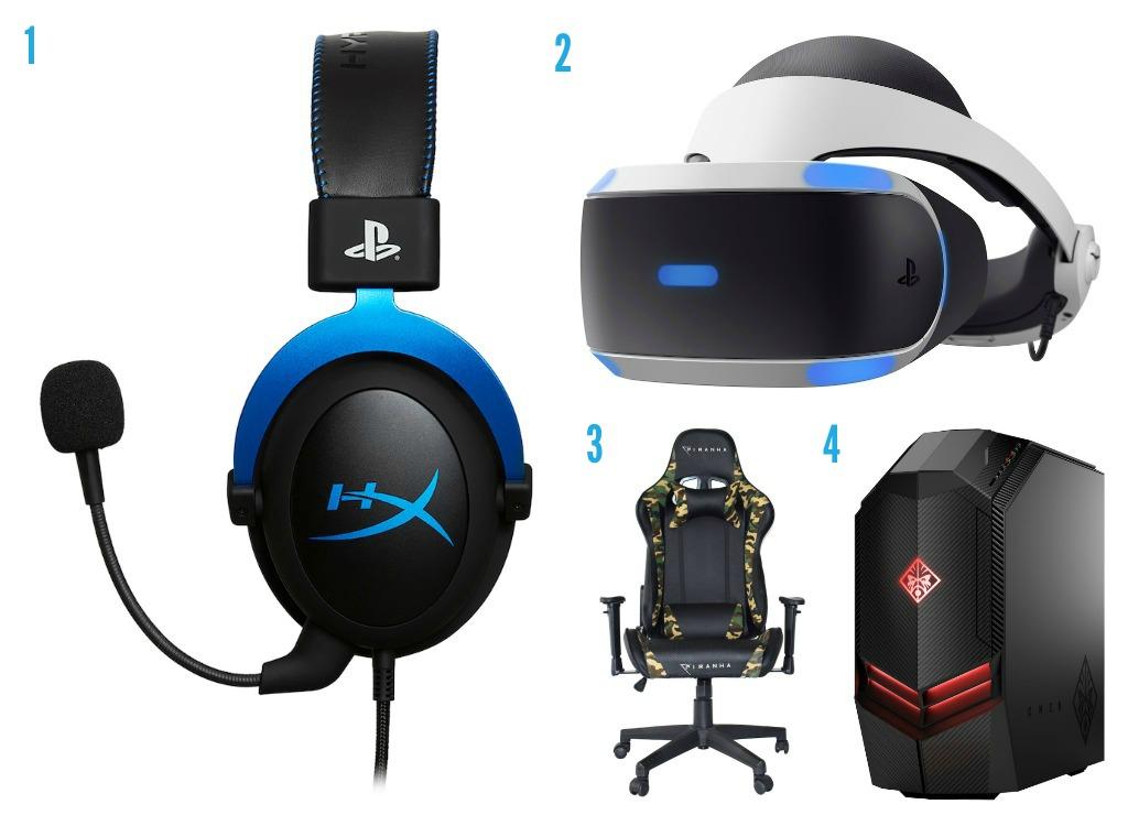 1. Gaming headset frå Elkjøp 2. Playstation headset kamera frå Elkjøp 3. Gamingstol frå Elkjøp 4. Gaming PC frå Elkjøp