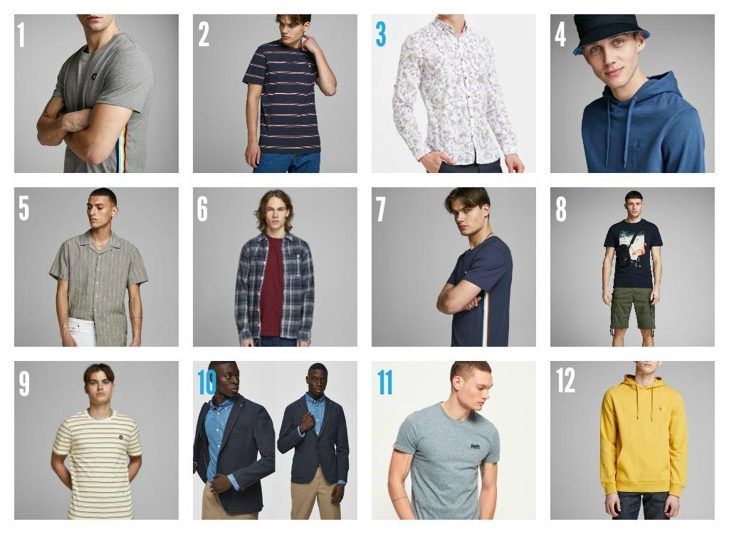 1. Grå tskjorte frå AKY 2. Stripa tskjorte frå AKY 3. Skjorte frå Denzel'O 4. Hettegensar og hatt frå AKY 5. Beige skjorte frå AKY 6. Skjorte og tskjorte frå AKY 7. Mørkeblå skjorte frå AKY 8. Tskjorte med print frå AKY 9. Stripa tskjorte frå AKY 10. Antrekk frå Denzel'O 11. Lys tskjorte frå AKY 12. Gul hettegensar frå AKY