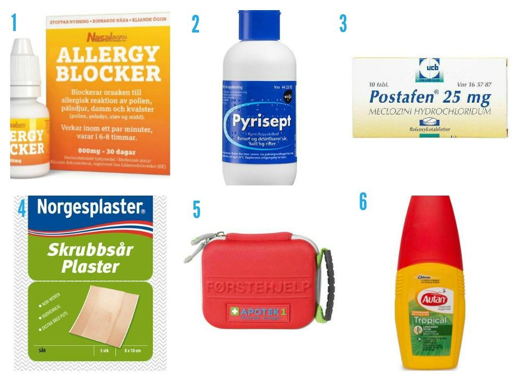 1. Nasaleze Allergy Blocker frå Sunkost kan blokkerer årsak til allergisk reaksjon av pollen, pelsdyr, støv og midd. 2. Pyrisept frå Apotek1 til rens/desinfisering av overflatiske sår som rift, kutt, skrubbsår. 3. Reisesjuketablettar frå Apotek1 4. Sårplaster frå Apotek1 5. Praktisk førstehjelpsmappe frå Apotek1 6. Myggspray frå Apotek1 som beskytter mot vanlege, tropiske og tigermyg