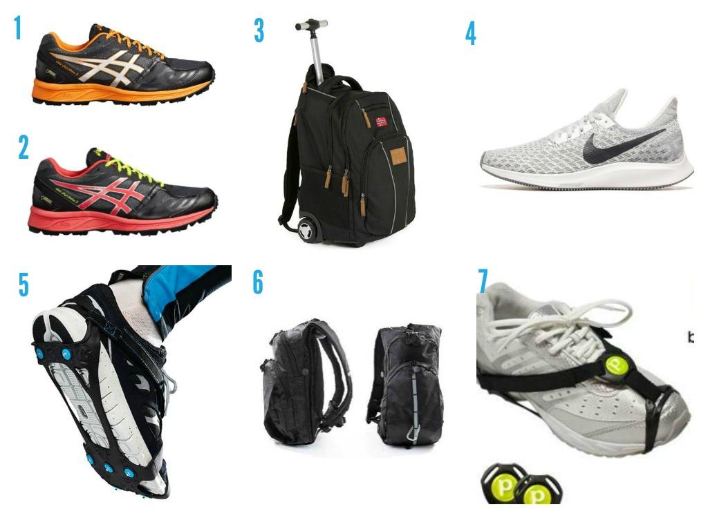 1. Asics-joggesko frå Intersport 2. Asics-joggesko frå Intersport  3. Ryggsekk frå Apotek1 4. Nike-joggesko frå Intersport 5. Brodder frå Elkjøp 6. Ryggsekk frå Apotk1 7. Brodder frå Apotek1