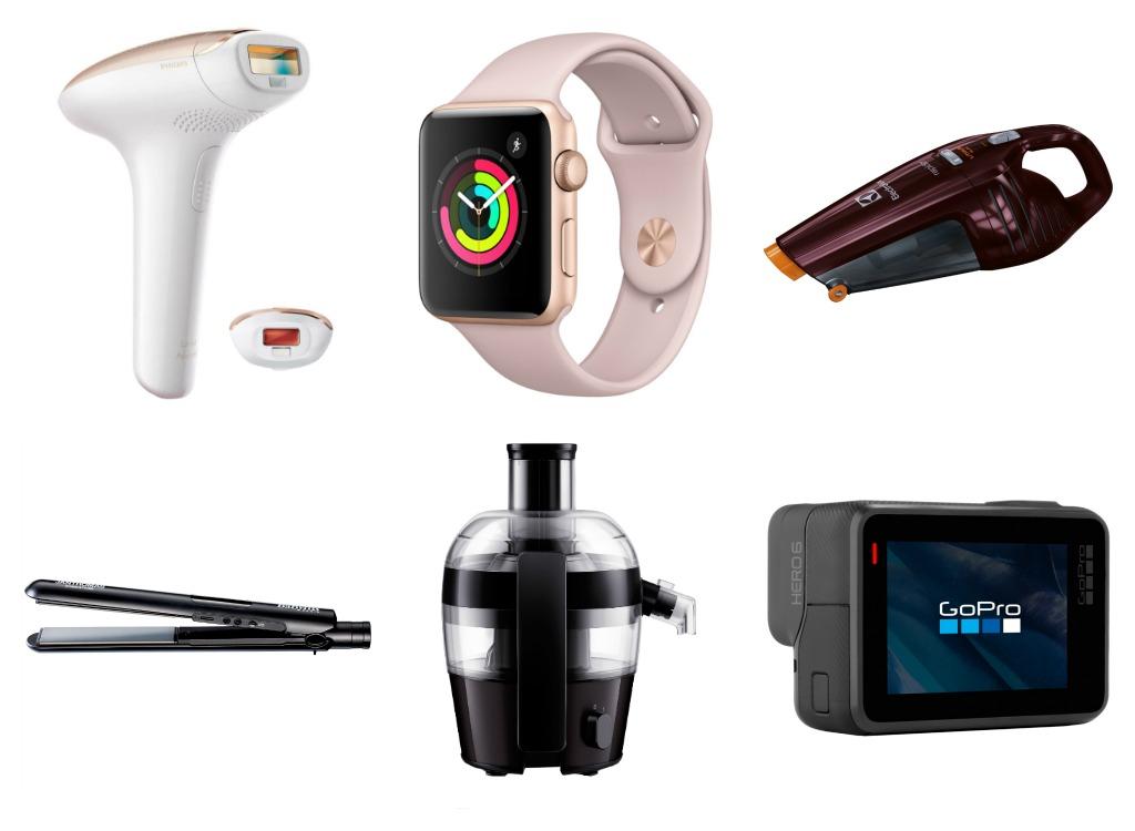 1. Hårfjernar 2. Apple smartklokke 3. Støvsugar 4. Strittetang 5. Juicer 6. GoPro-kamera