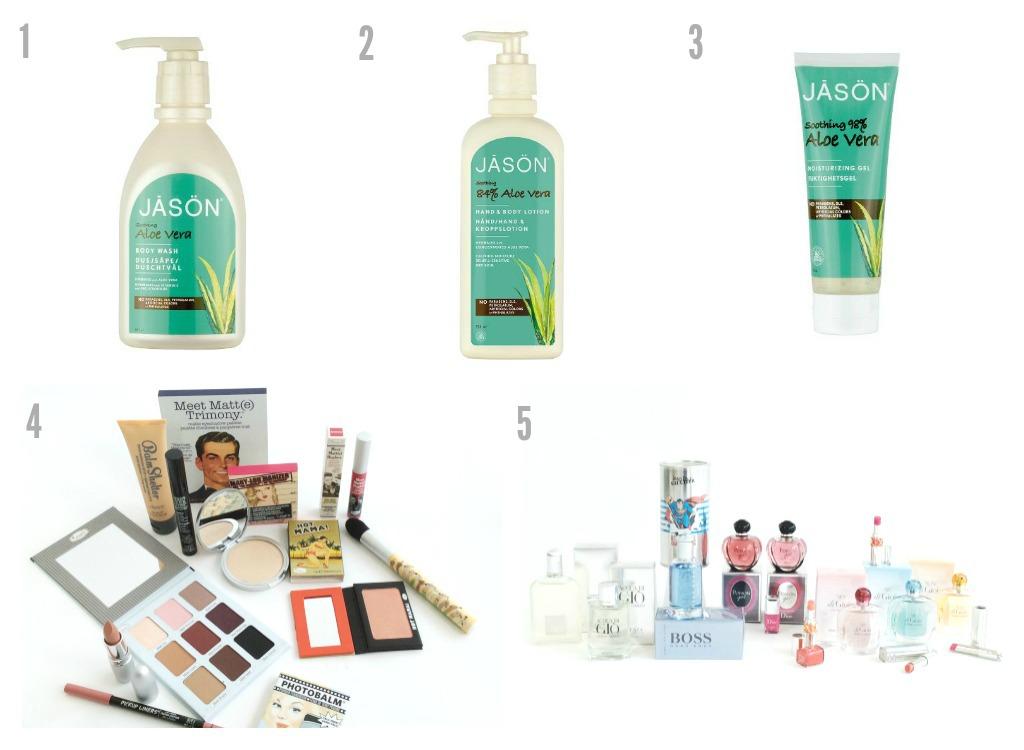 1, 2, 3: Aloe Vera-hudpleie frå Sunkost 4, 5: Sminke og duft frå Skin Tonic